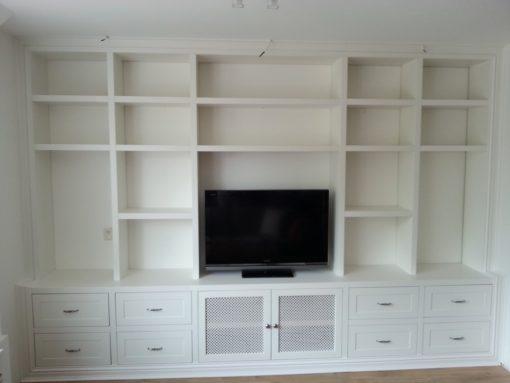 Wandkast met tv meubel, laden en deuren, met verlichting