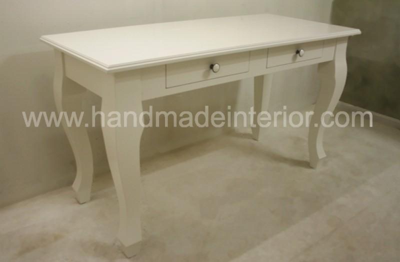Schrijftafel bureau bijzettafel wit baroque met lade handmade