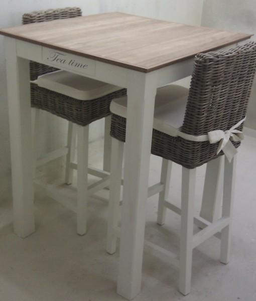 Bartafel met blad van teak hout handmade interior - Cuisin e met bartafel ...