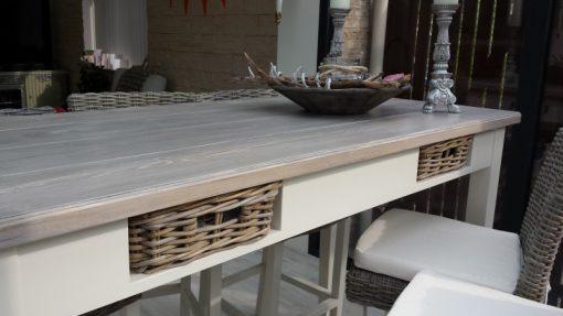 Brownwash bartafel met wit onderstel