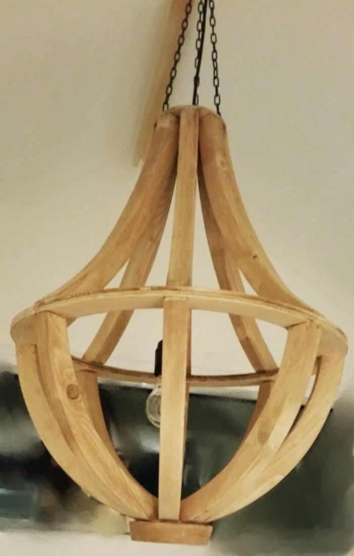 Houten kroonluchter lamp