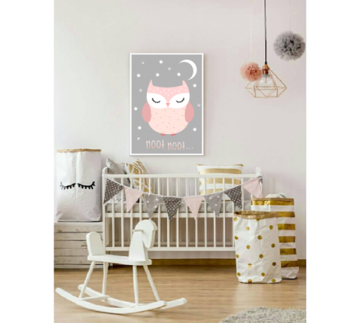 Poster roze uil