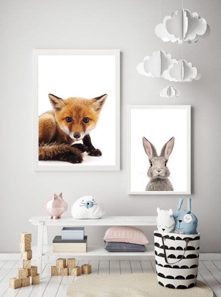 Poster konijn en vos