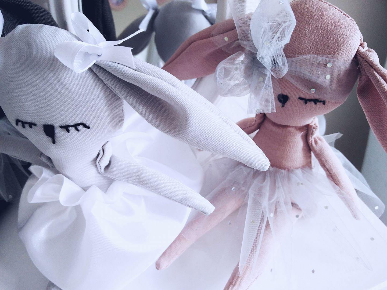knuffel wit poederroze